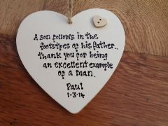 Shabby Personalised Chic Heart.. Father Of The Groom.. Any Names Dates Etc..